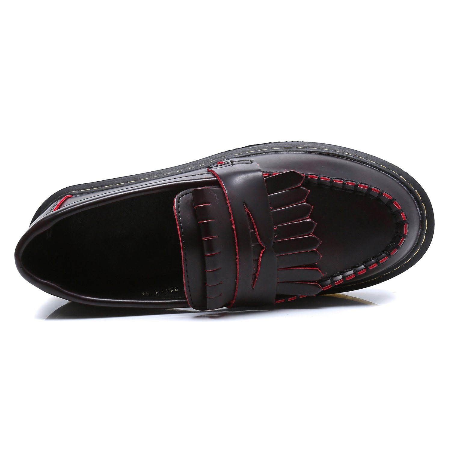 Smilun Unisex-Adult Moccasins Fashion Comfortable Smooth Leather Women Red Size 7.5 B(M) US by Smilun (Image #4)