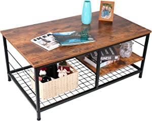 Industrial Coffee Table with Adjustable Storage Shelf for Living Room, Accent Furniture with Metal Frame, Easy Assembly, Rustic Brown
