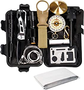 Your Choice Gifts for Men, Dad, Boyfriend - Emergency Survival Kit 13 in 1, Camping Hunting Gear Halloween Christmas Birthday Gifts