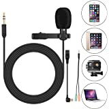 Clip On Microphone,Lav Mic, for GoPro Hero 3 3+ 4,iPhone,iPad,Computer,PC,Laptop,Lavalier Lapel Microphone,SOONHUA 3.5MM Mini Condenser Mic for YouTube Video, Podcast Recording,Gaming(6FT Cord)