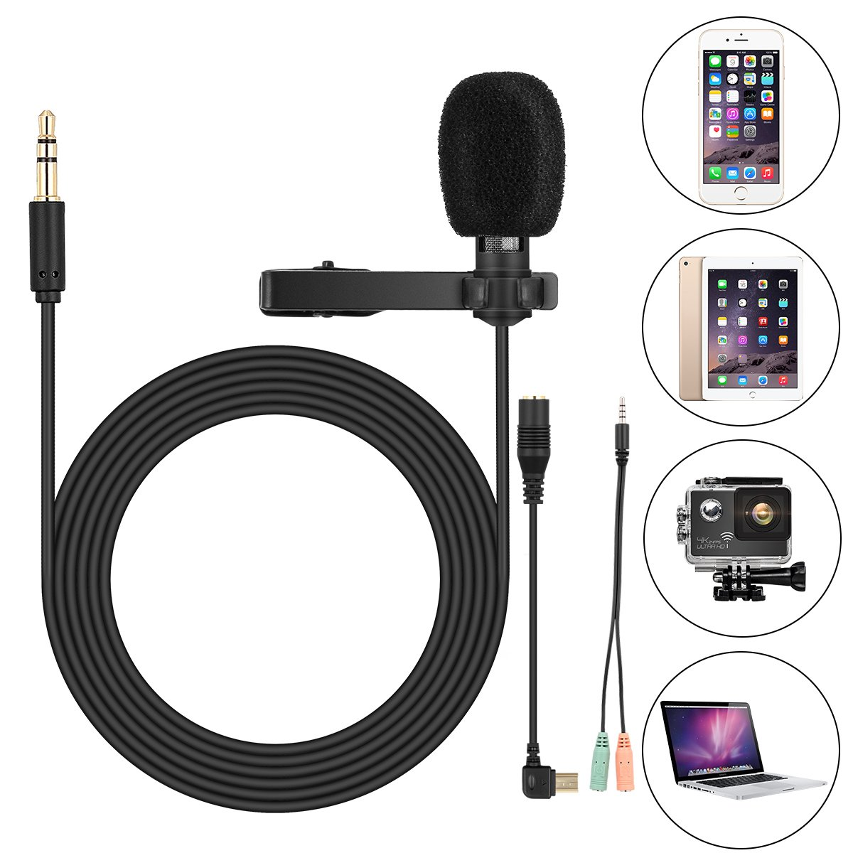 Clip On Microphone,Lav Mic, for GoPro Hero 3 3+ 4,iPhone,iPad,Computer,PC,Laptop,Lavalier Lapel Microphone,SOONHUA 3.5MM Mini Condenser Mic for YouTube Video, Podcast Recording,Gaming(6FT Cord) by SOONHUA