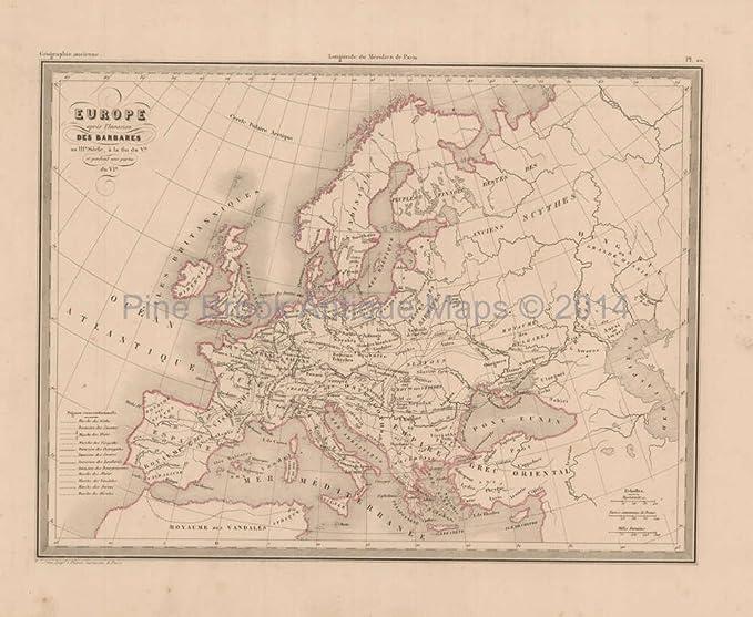 Amazon.com: Barbarian Invasion Europe Antique Map Malte Brun ...