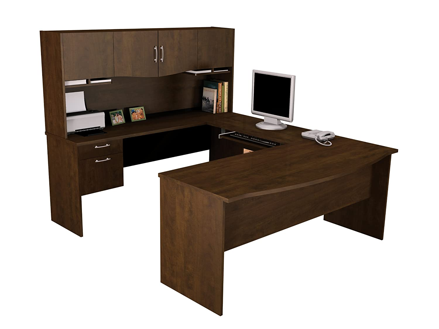 Amazon.com: Bestar Harmony U-shaped Workstation, Chocolate ...