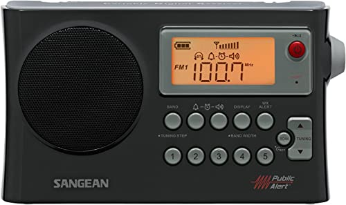 Sangean Portable Digital AM FM Weather Alert Alarm Clock Radio with Large Easy to Read Backlit LCD Display Built-in Speaker Flashing Red LED Light with Emergency Siren