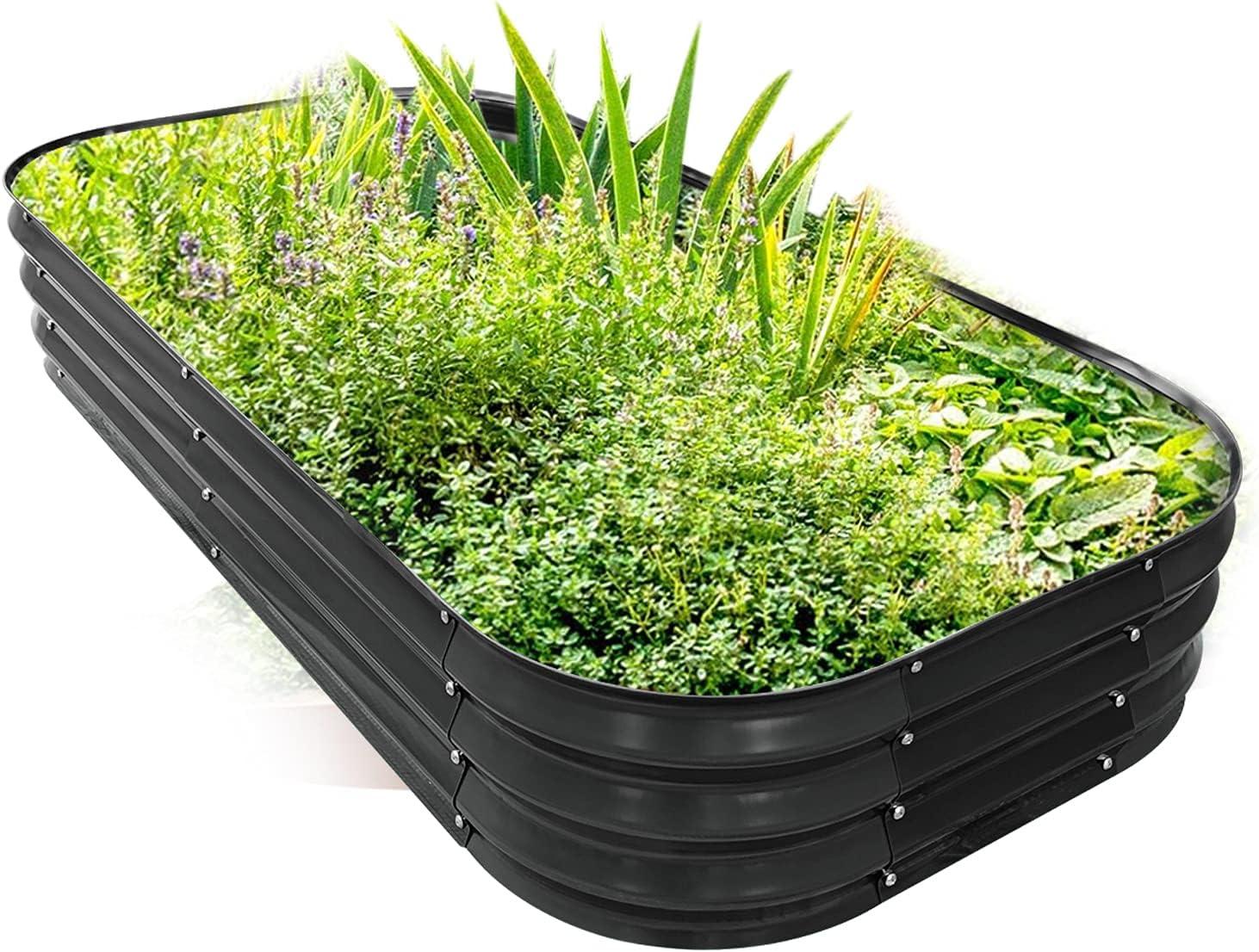 PINTIA1 Steel Raised Garden Beds for Vegetables Flowers, Large Outdoor Planter Herbs Garden Bed Galvanised Steel Size (6X3X1 FT, Charcoal Grey)