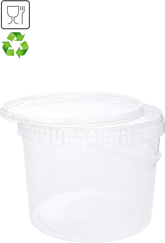apto para alimentos 5 litros transparente Cubo con tapa cubo de pl/ástico tapa con asa