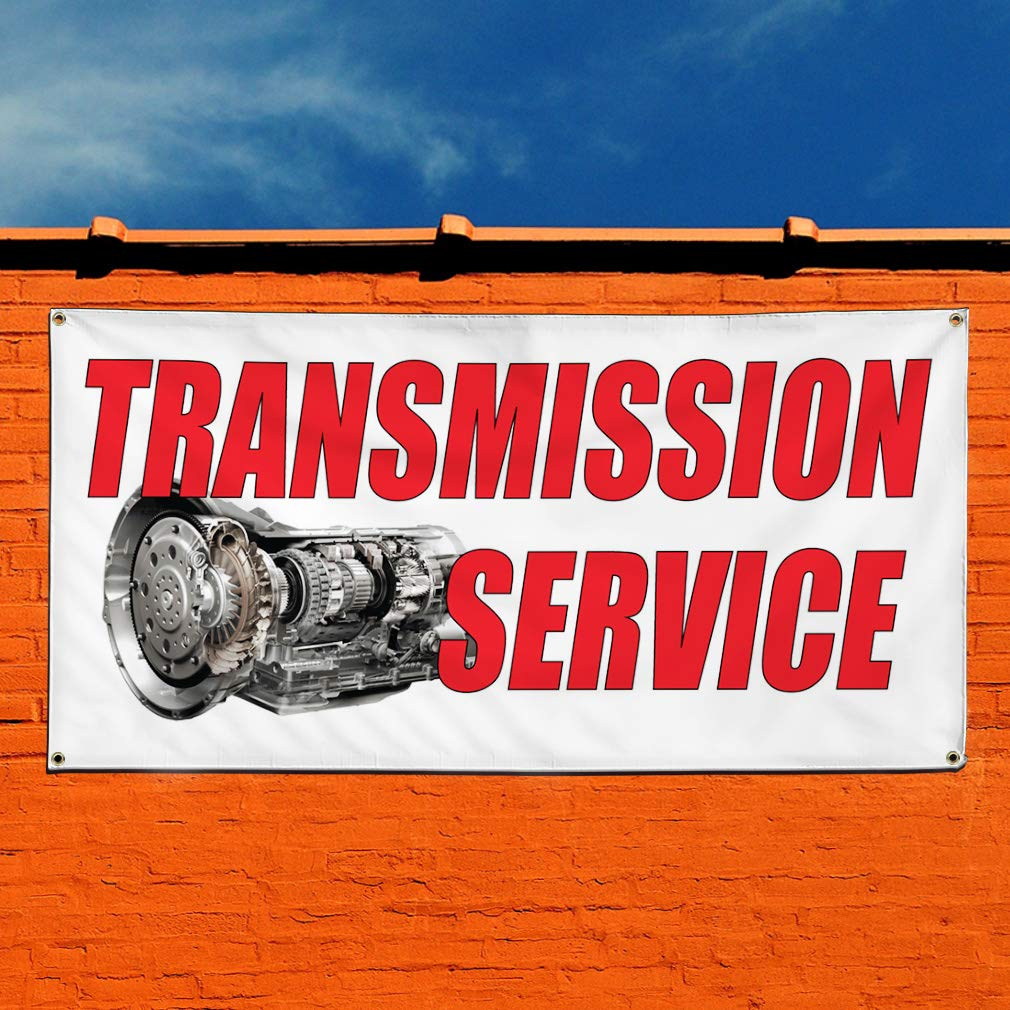 Multiple Sizes Available 32inx80in Vinyl Banner Sign Transmission Service Auto Car Vehicle Style A Marketing Advertising 6 Grommets Set of 2