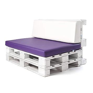 Conjunto colchoneta para sofas de palet Lila y respaldo Blanco (1 x Unidad) Cojin relleno con espuma. | Cojines para chill out, interior y exterior, ...