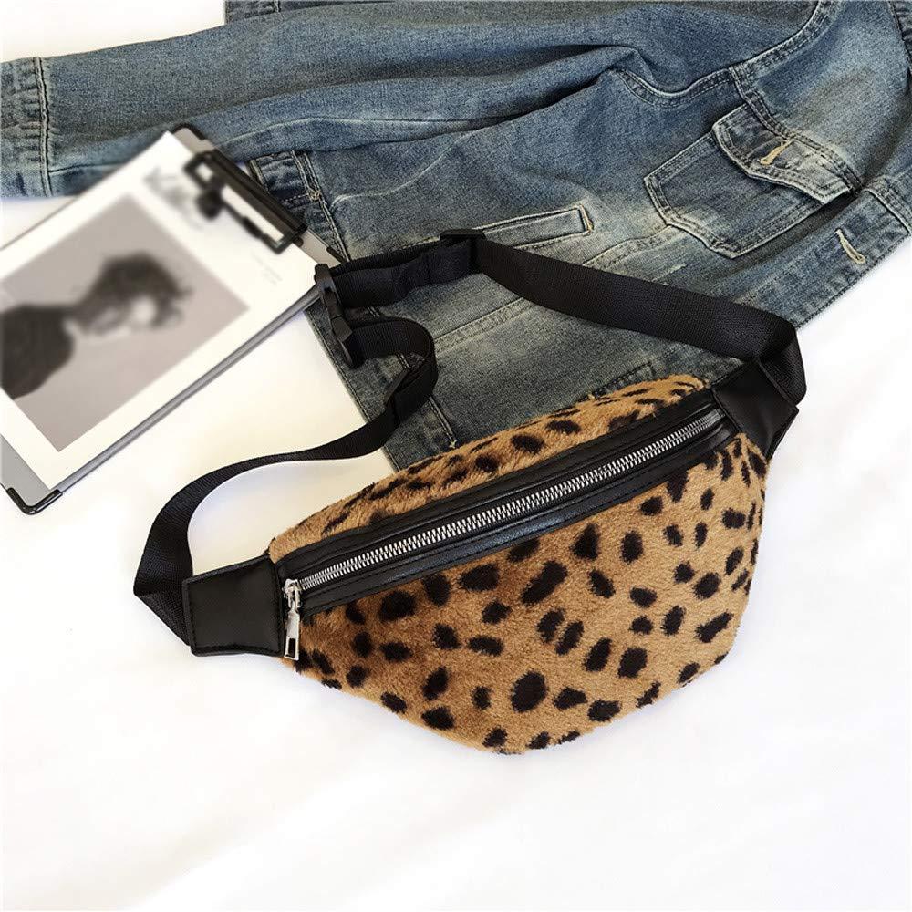 Plush Fanny Pack Leopard Print Waist Bag Crossbody Waistbag Chest Bags Street Style Purse