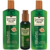 Thicker Fuller Hair Revitalizing Shampoo, Weightless Conditioner, 12 oz, and Instantly Thick Serum, 5 oz (Set of 3)