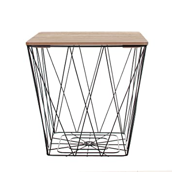 Black geometric iron metal wire square wooden top storage side black geometric iron metal wire square wooden top storage side table basket greentooth Image collections