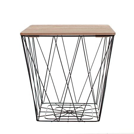 Black geometric iron metal wire square wooden top storage side black geometric iron metal wire square wooden top storage side table basket greentooth Images