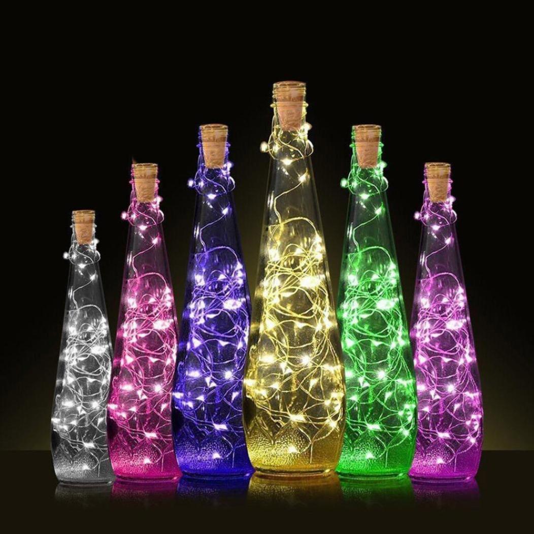 Lámpara de botella de vino de HKFV, diseño creativo con corcho y 10 LEDs para una fiesta colorida, Unisex, Multicolor, String length:50cm: Amazon.es: ...