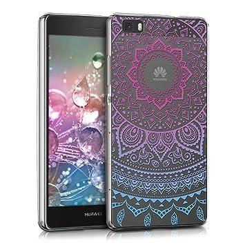 kwmobile Funda compatible con Huawei P8 Lite (2015) - Carcasa de {TPU} y diseño de sol hindú en {azul / rosa fucsia / transparente}