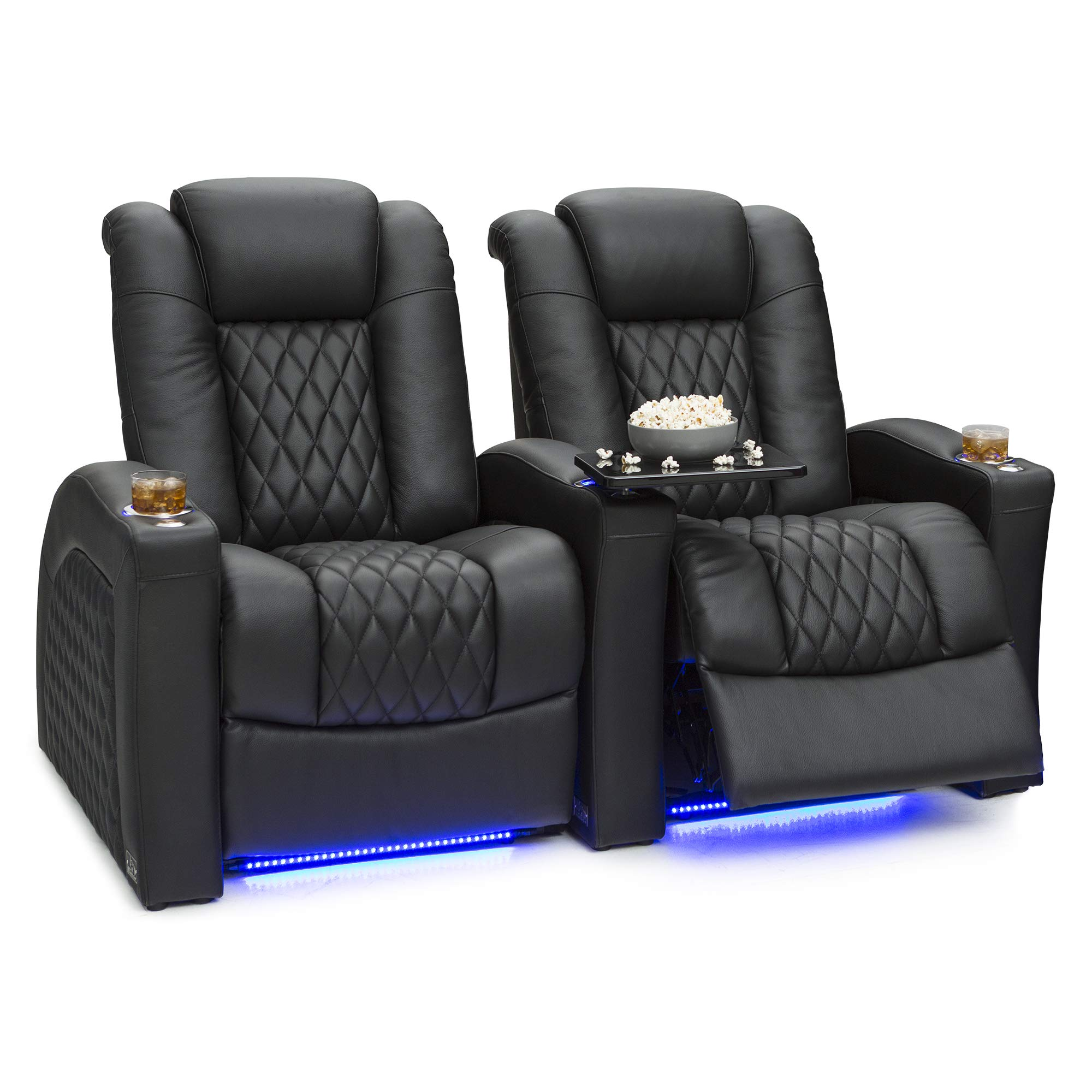 Seatcraft Stanza - Home Theater Seating - Power Recliners - Leather - Adjustable Powered Headrest and Lumbar Support - Cup Holders - USB Charging - Ambient Lighting- SoundShaker - Row of 2 - Black by Seatcraft