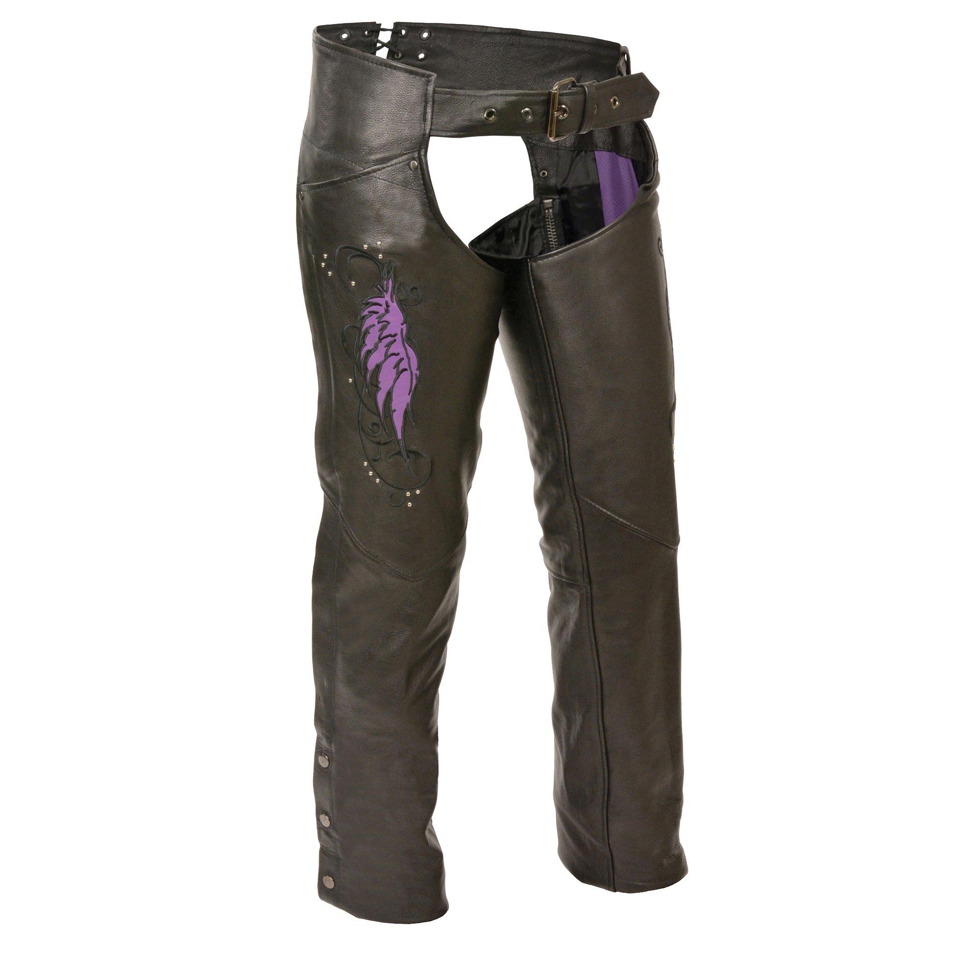 Milwaukee Women's Leather Chaps (Black/Purple, Large) by Milwaukee