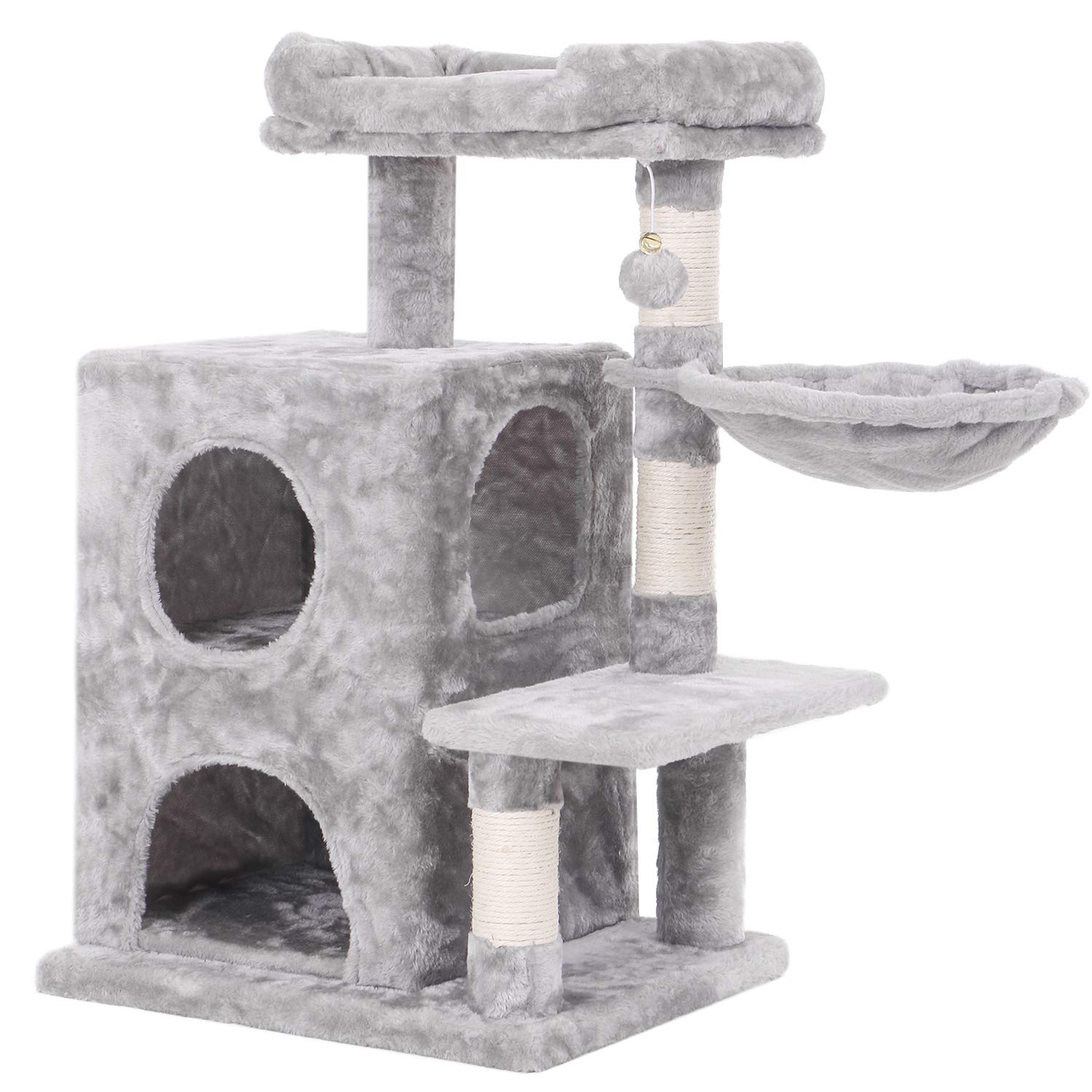 BEWISHOME Cat Tree Condo with Sisal Scratching Posts, Plush Perch, Dual Houses and Basket, Cat Tower Furniture Kitty Activity Center Kitten Play House, Light Grey MMJ06L by BEWISHOME