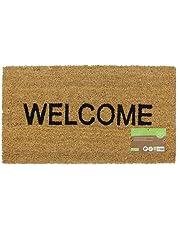 JVL Heavy Duty Welcome PVC Backed Coir Entrance Door Mat, Vinyl, Brown, 33.5 x 60 cm