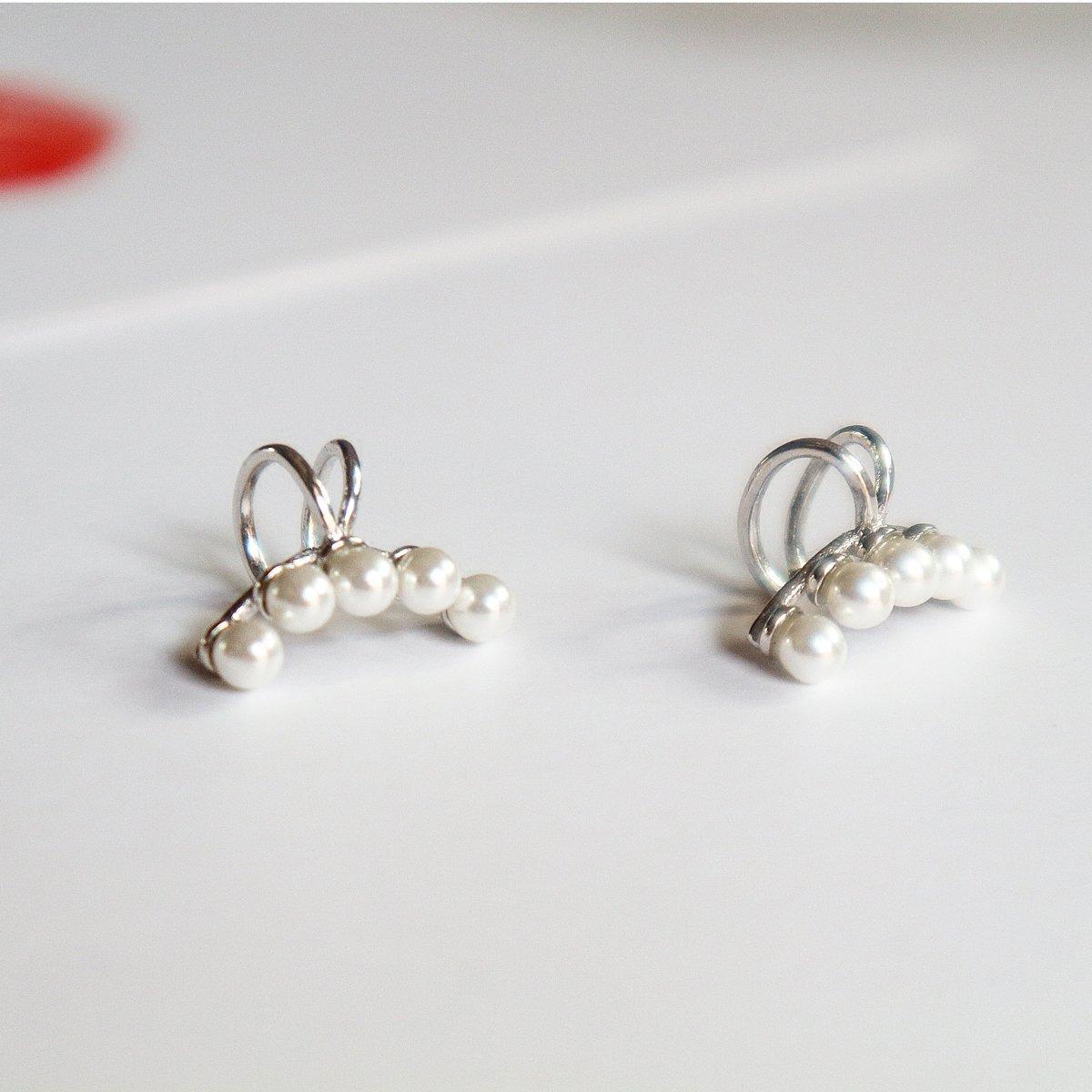 Aifeer Sterling Silver Non Pierced Ear Stud Earrings 5 Pearls Wrap Cuff Clip On Ear Clamp (A Pair) by Aifeer (Image #6)