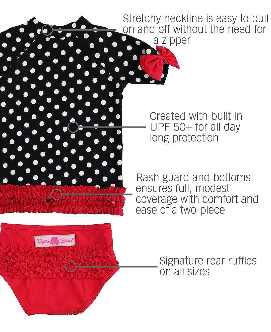 Sun Protection RuffleButts Baby//Toddler Girls Rash Guard Short Sleeve 2-Piece Swimsuit Set Polka Dot Bikini with UPF 50