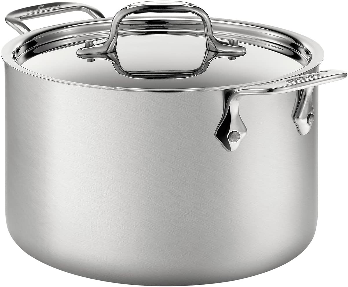 All-Clad BD552043 D5 Brushed 18/10 Stainless Steel 5-Ply Bonded Dishwasher Safe Soup Pot with Lid Cookware, 4-Quart, Silver