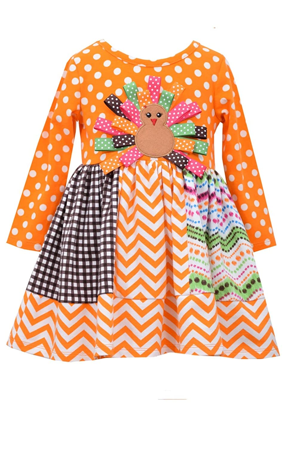 389b87147437 Amazon.com  Bonnie Jean Baby-Girls Mix Panel Turkey Thanksgiving Dress   Clothing