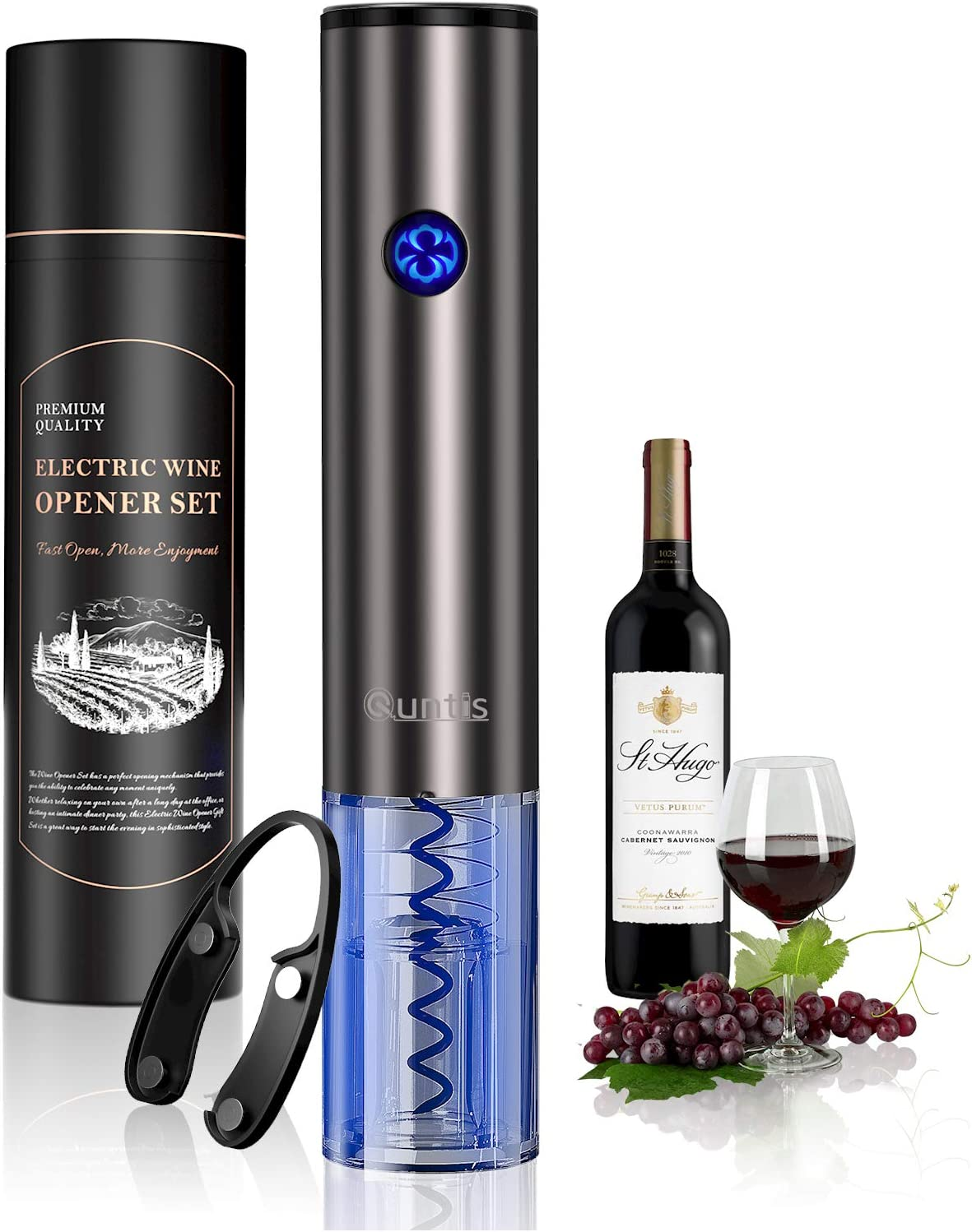 Quntis Electric Wine Opener, Rechargeable Automatic Corkscrew, Touch Sensor Smart Wine Bottle Opener, Wine Lover Gift Set -Thanksgiving Christmas Holiday Kit with Foil Cutter, USB Charging Cable