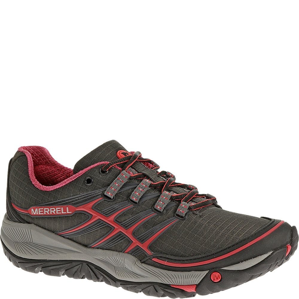 Merrell Women's All Out Rush Trail Running Shoe,Black/Paradise Pink,5 M US