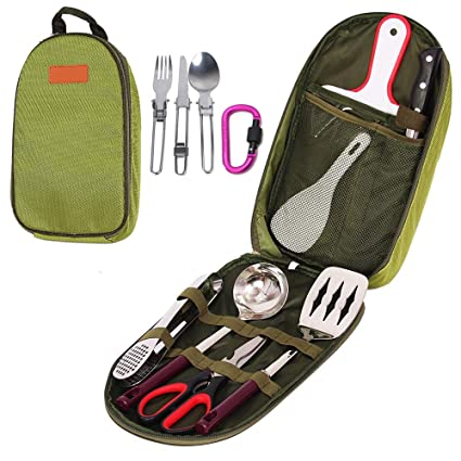 Amazon Com Ezyoutdoor 12pcs Camping Kitchen Utensils Set Portable