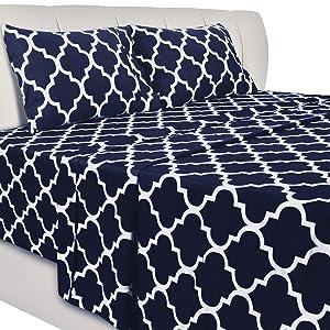Utopia Bedding Printed Bed Sheet Set - 4 Piece Microfiber Bedsheet Set (King, Navy)