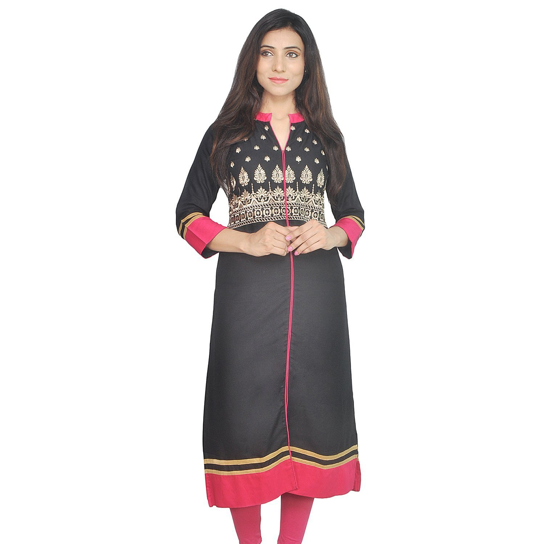 Chichi Indian Women Kurta Kurti 3/4 Sleeve Medium Size Plain with Side-Front Cut Straight Black Top