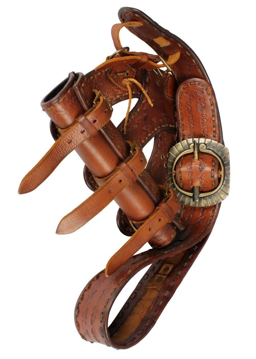 Hochwertiger Piraten-Bandelier aus Leder LARP-Schwerthalter Schwarz oder Braun Mittelalter Ritter Wikinger