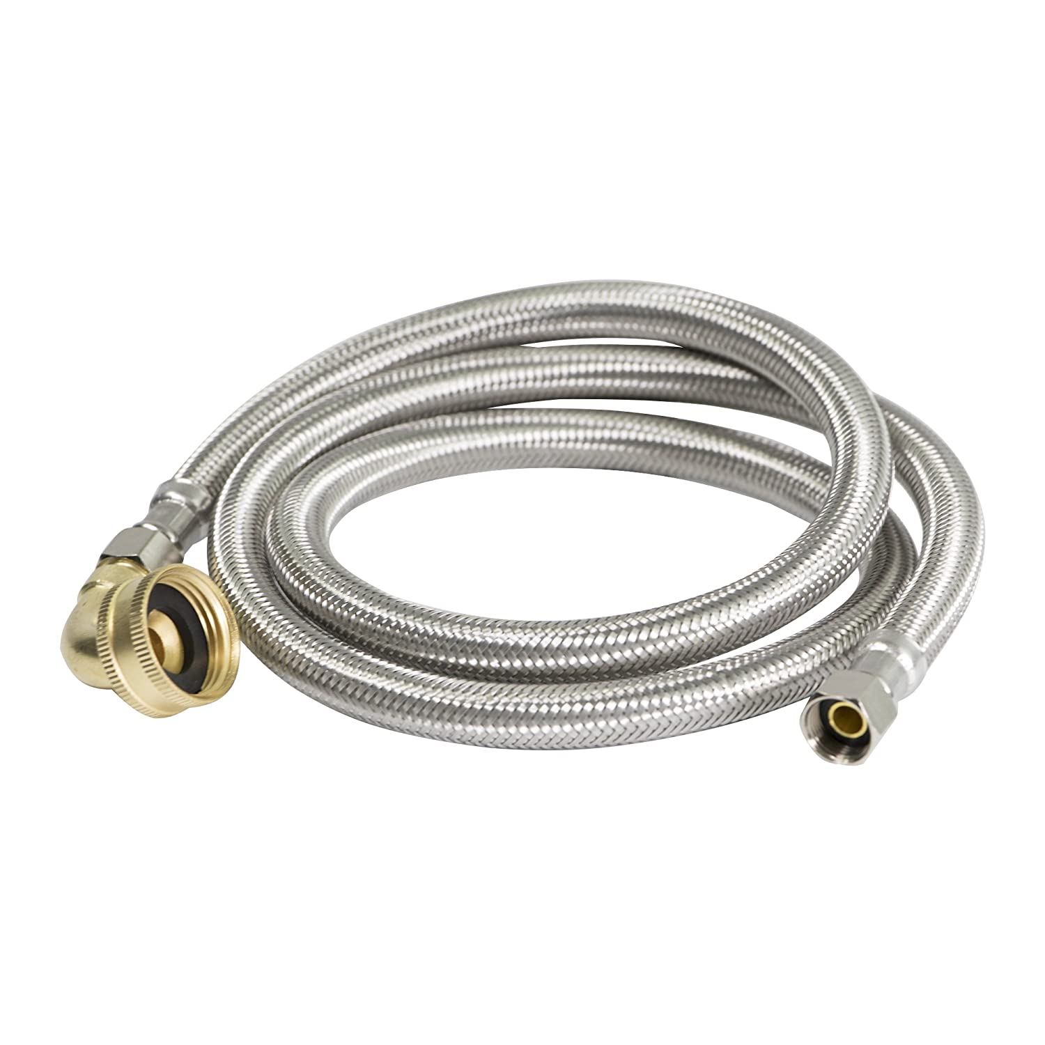 "Everflow Supplies 28772-NL Stainless Steel Dishwasher Supply Line with Swivel Elbow and with 3/8"" X 3/4"" Compression and Female Hose Thread Connect, 72"""