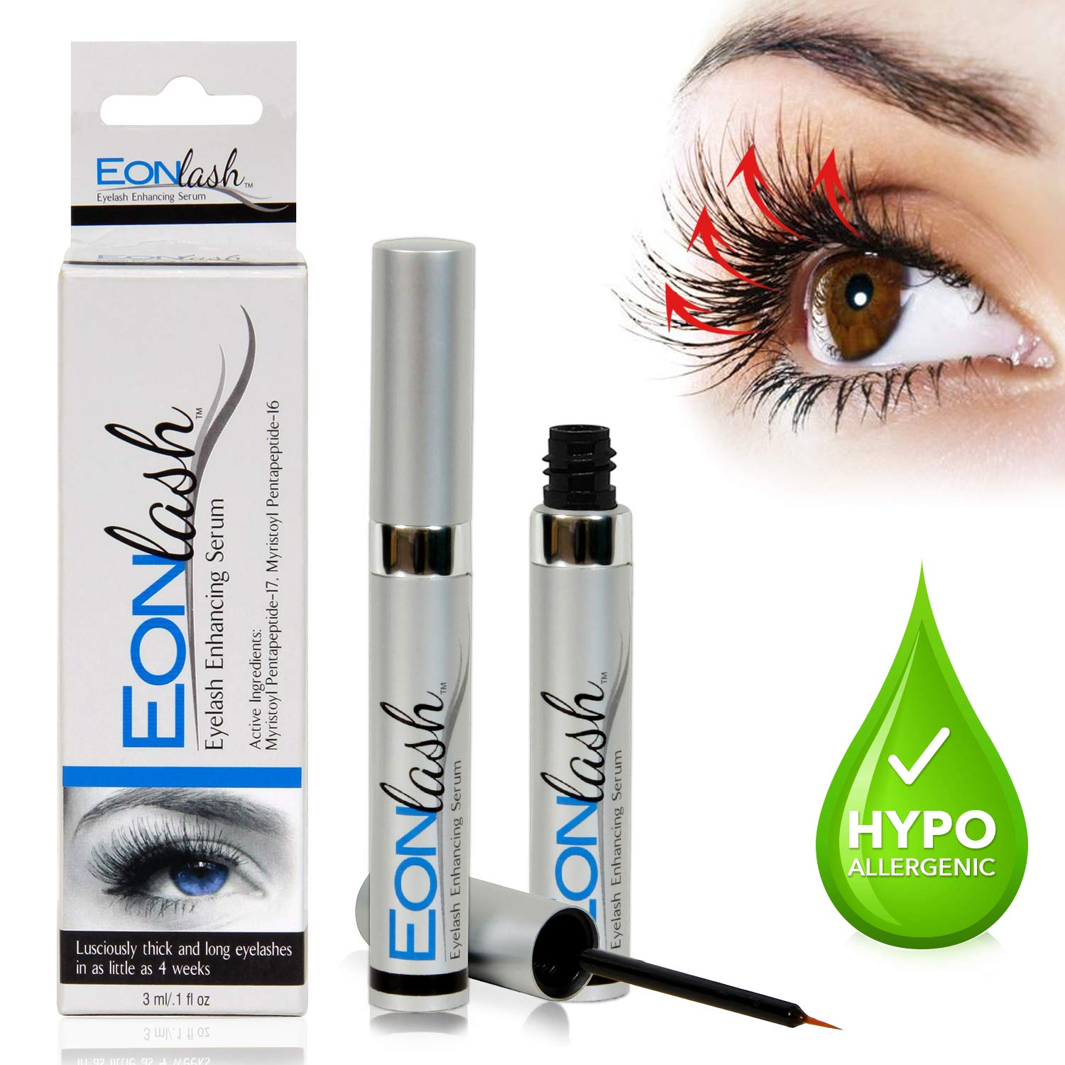 EONLASH Eyebrow & Eyelash Growth Serum - Hypoallergenic and Paraben Free Formula for Longer, Thicker EyeBrows, and Lavish Lashes