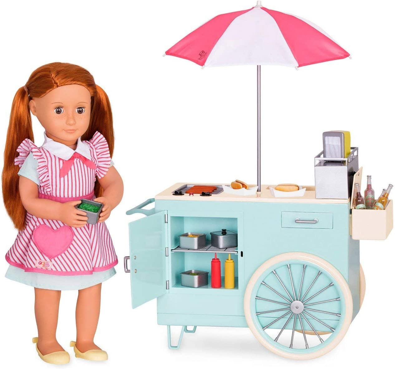 Cart /& Accessory Set for 18 Dolls Retro Hot Dog Cart Toy for Age 3 Years /& Up Our Generation by Battat