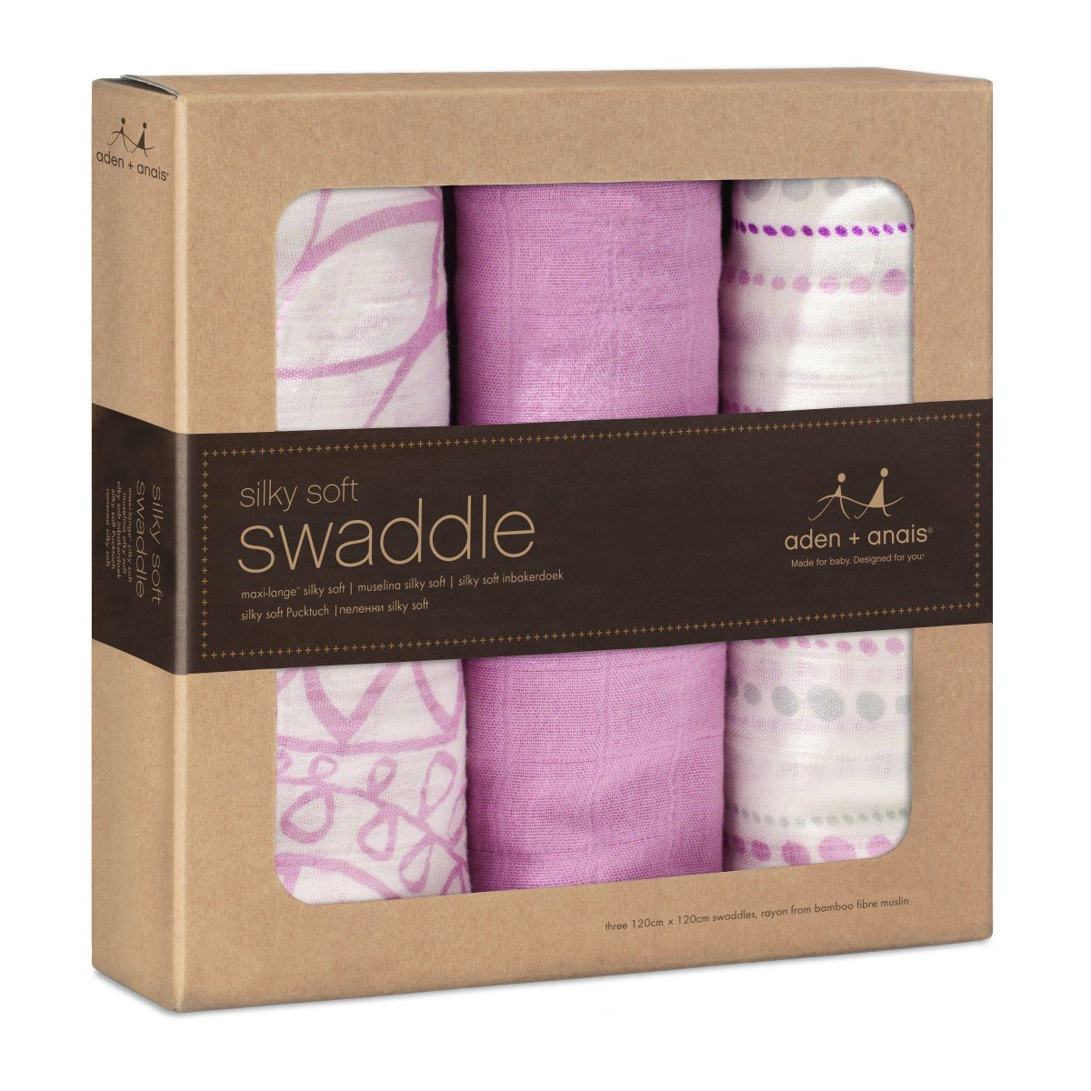aden + anais silky soft swaddle, 100% viscose made from bamboo, 120cm X 120cm, 3 pack, tranquility 9204G