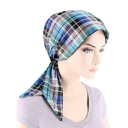 94404e4920f Chemo Fashion Scarf Easy Tie Turban Hat Headwear For Cancer Blue Plaid