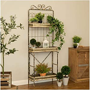 "Glitzhome Garden Planter 3 Tier Garden Planter Decor Farmhouse Garden Planter for Porch 68"" H Garden Planter Outdoor"