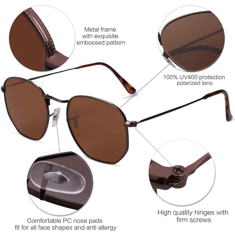 dd98a2b2ce SOJOS Small Square Polarized Sunglasses for Men and Women Polygon Mirrored  Lens SJ1072 SJ1077