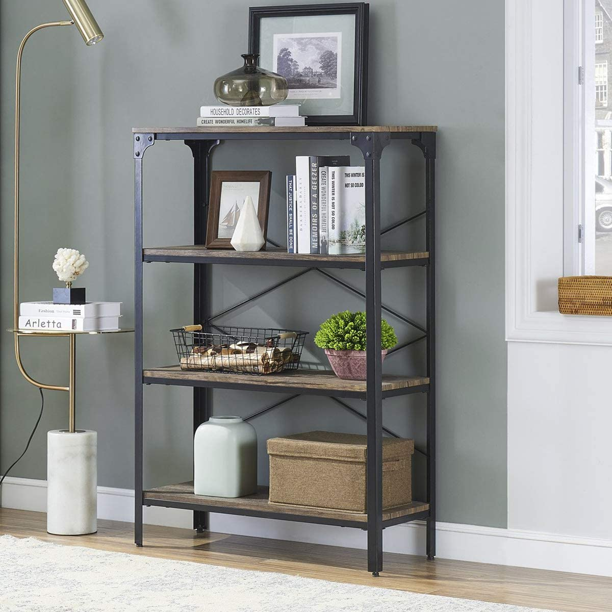 O K FURNITURE 4-Shelf Industrial Open Bookcase, Wood and Metal Vintage Etagere Bookshelf for Living Room, Gray-Brown