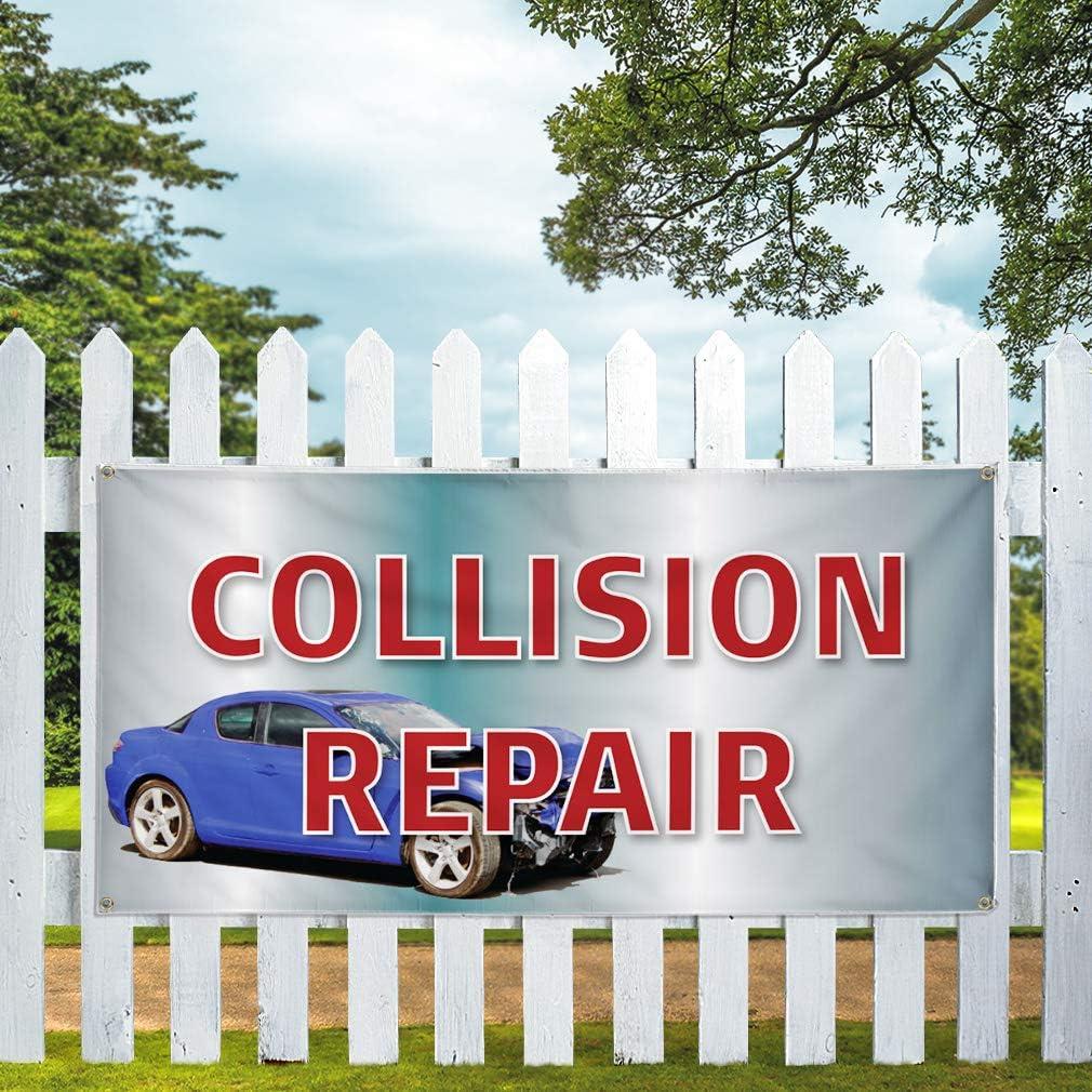 Vinyl Banner Multiple Sizes Collision Repair Auto Car Vehicle C Automotive Outdoor Weatherproof Industrial Yard Signs Aqua-Blue 8 Grommets 48x96Inches