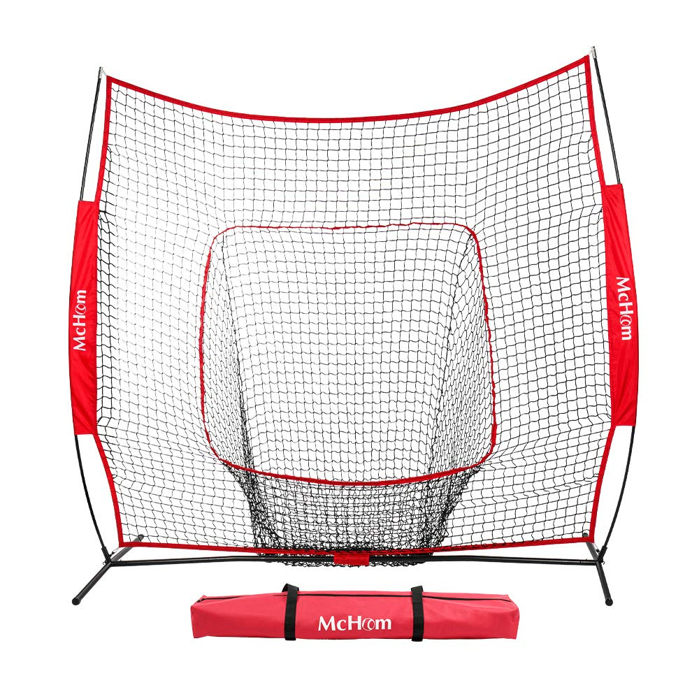 McHom 7' x 7' Baseball & Softball Net for Hitting & Pitching Practice with Bow Frame & Carry Bag, Collapsible and Portable …