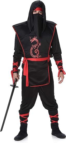 Amazon.com: Disfraz de ninja negro y rojo para hombre ...