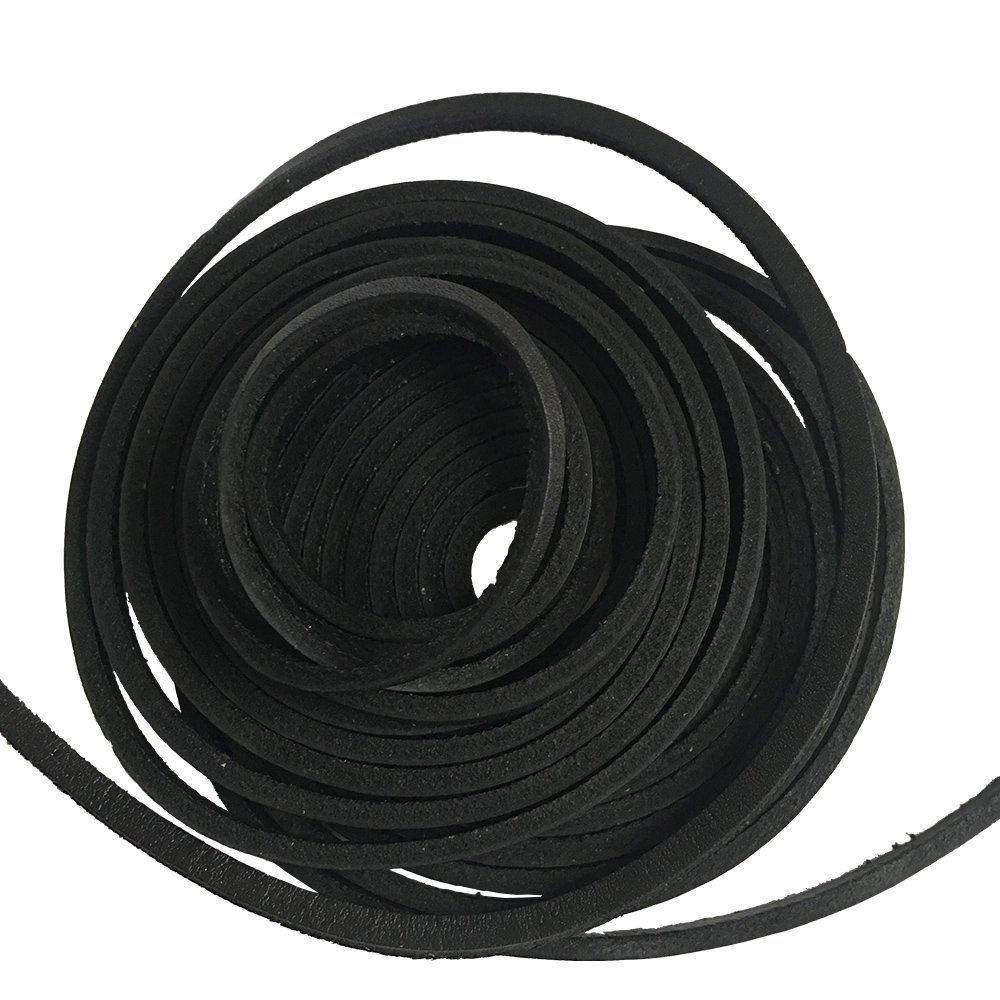Extra Long 181 Inches Genuine Leather Shoe Laces 4x3.5mm (Black)