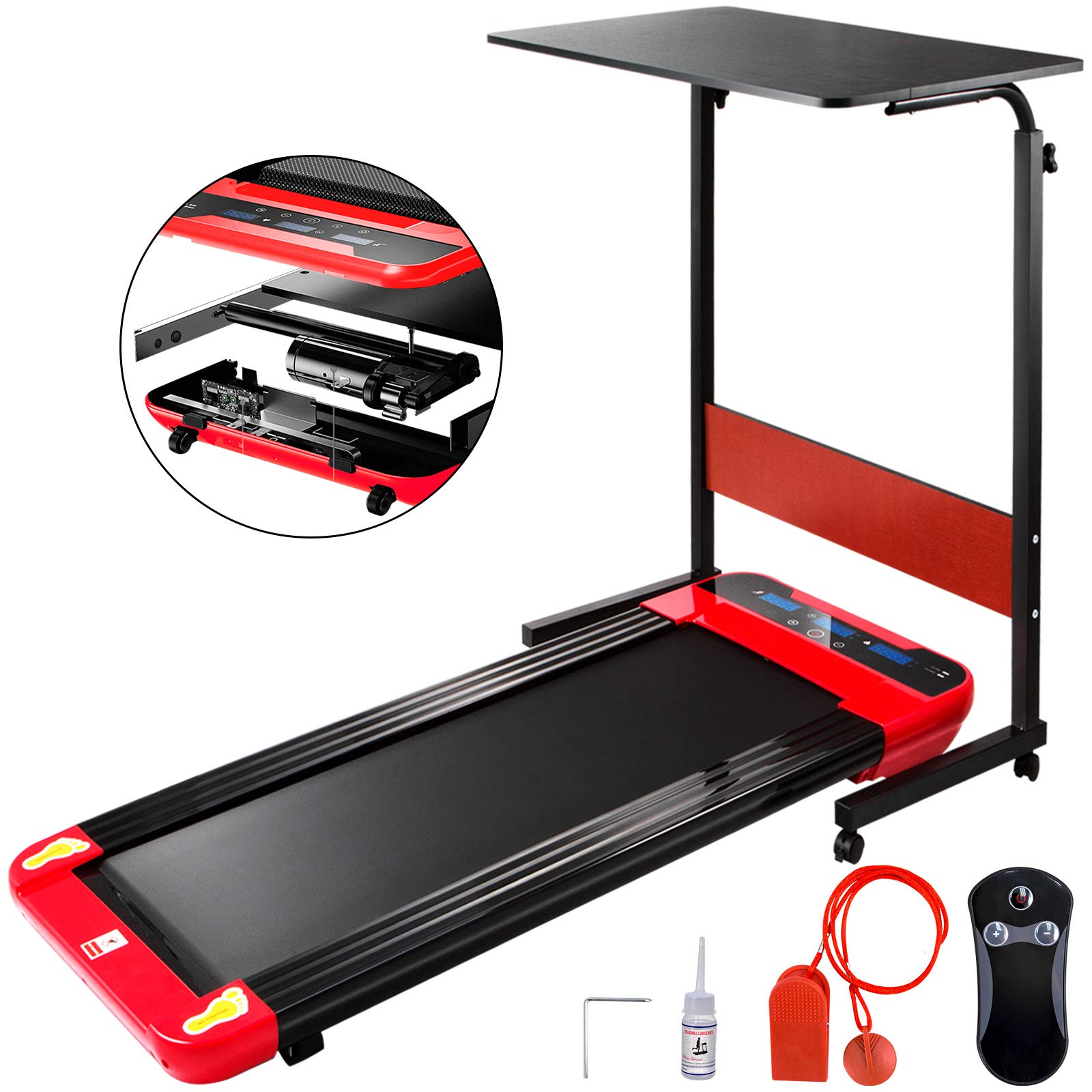 Popsport Treadly Treadmill Running Surface Compact Slim Fitness Training Cardio Equipment for Home Workouts(Red & Black with Desk)