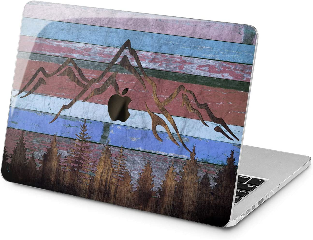 "Cavka Hard Shell Case for Apple MacBook Pro 13"" 2019 15"" 2018 Air 13"" 2020 Retina 2015 Mac 11"" Mac 12"" Cover Wooden Reclaimed Grunge Forest Protective Design Plank Plastic Print Mountain Blue Laptop"