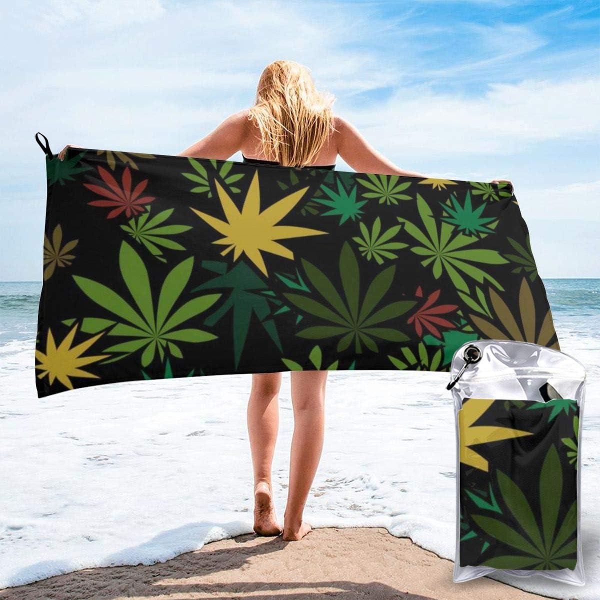 Nonebrand - Toalla de baño de microfibra de secado rápido para marihuana y cannabis (tamaño grande, ideal para camping, gimnasio, playa, natación, senderismo y yoga)