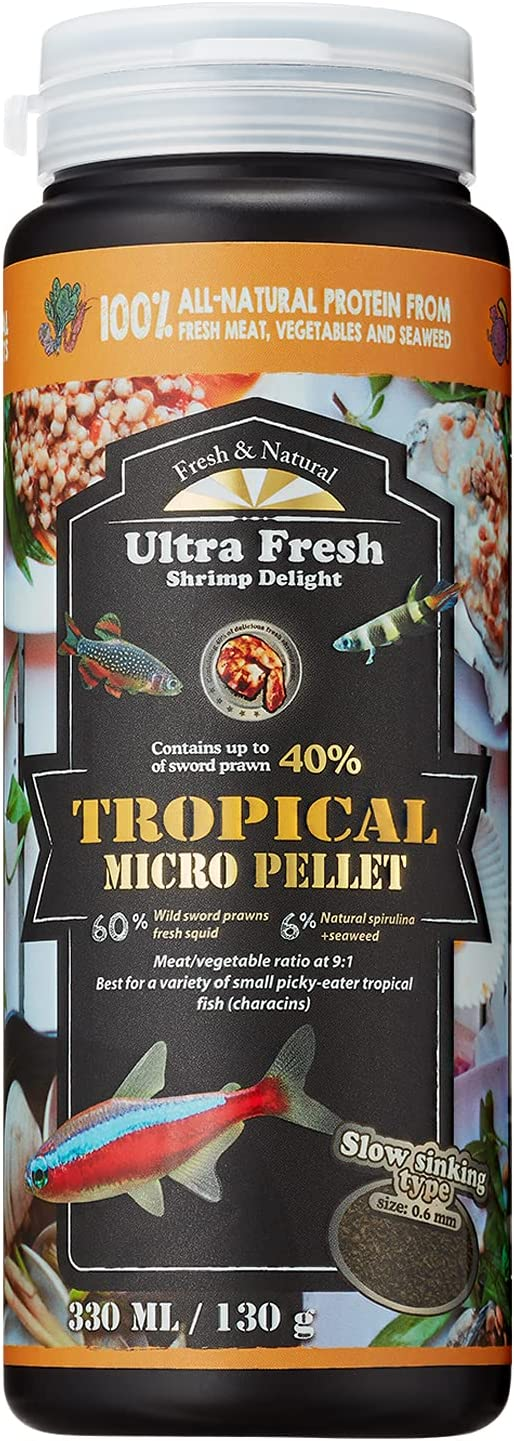 Ultra Fresh - Tropical Micro Pellet, Amazing Palatability, 40% Sword Prawns, 6% Natural Spirulina, Nutritious, Natural Color Enhancement, Tropical Fish Food for All Small Tropical Fish.(4.6 Ounce)