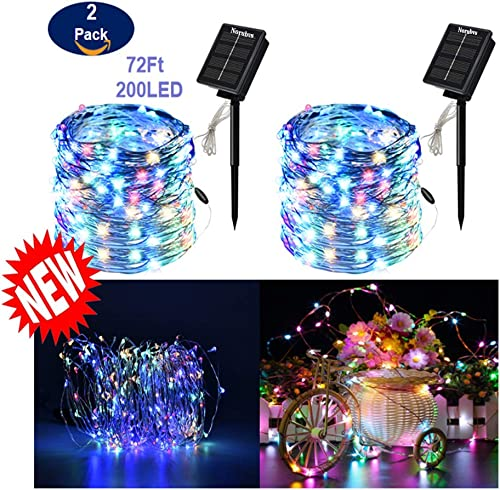 Norubvs Outdoor Solar String Lights, 2 Pack 72FT 200 LED Copper Wire Lights, 8 Modes Waterproof Solar Fairy Lights for Garden Homes Party Christmas Decoration Multi-Color