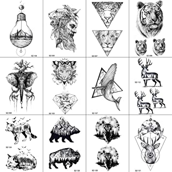 12 Hojas Negro GeoméTrico Impermeable Diamante Alce Lobo Aves Oso ...